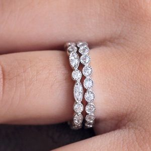 Jewelry - ❤️2pcs 925 Silver Wedding Bands Pave Promise Rings